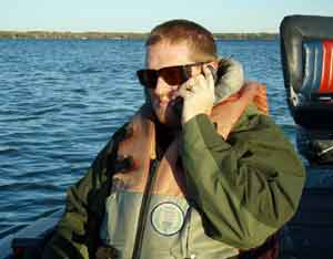 djkimmel talks on the phone to bender shortly after lauching on Mullett Lake October 9 2008