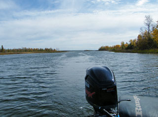 Looking back out the Black River towards its mouth with Black Lake