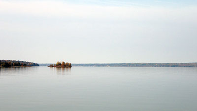 Mullett Lake is smooth like a new mirror on the morning of Sunday, October 12, 2008