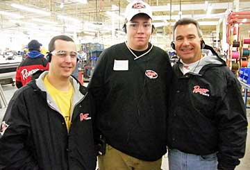 Hook 'n Look hosts Danny Stricker (L) & bass pro Kim Stricker (R) at the 2008 Ranger Advantage factory Tour with TBF of Michigan Jr Jawbreakers youth president Danny North in the middle