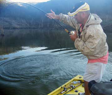 A huge boil means Grande! Big old largemouth bass on Lake Comedero that Ron Speed Jr is fighting