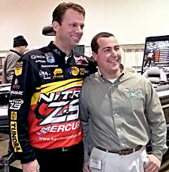 KVD and Danny Stricker pose together at the 2010 Novi Ultimate Fishing Show in January