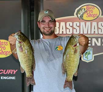Christopher Helfer of Powell Ohio leads all co-anglers on day 1 with 3 bass weighing 13 pounds 9 ounces