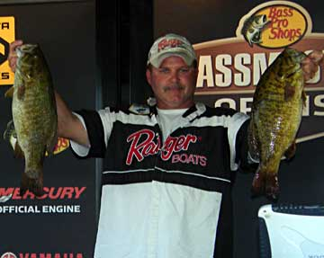 Chris King of South Amherst Ohio Weighs in 5 smallmouth bass for 25 pounds 14 ounces on day 2 at the 2010 BASS Northern Open Detroit River to take a 5 pound lead