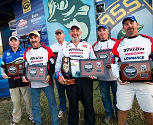 The top six Bassmaster Classic qualifiers from the 2011 B.A.S.S. Federation Nation Championship on the Ouachita River Louisiana