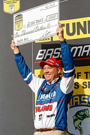 Pro angler Alton Jones leads the Bassmaster Toyota Angler of the Year standings after three Elite Series events