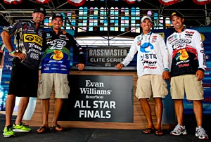 Gerald Swindle, Ott DeFoe, Casey Ashley and Edwin Evers earned their way into the second round of the Evan Williams Bourbon All-Star Championship on the Alabama River
