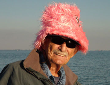 Legendary fishing guide Robert Brunner having a little fun with the famous pink hat