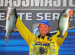 Bobby Lane shows off two big largemouth bass from West Point Lake Pride of Georgia Elite Series 2011 event
