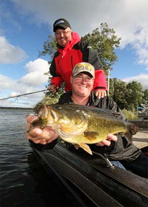 The father-and-son team of Bernie and Brad Ksionek sacked an impressive 18.72-pound, 5-fish limit to win top honors and $10,400 in cash at the September 8, 2012 Cabela's North American Bass Circuit's Leech Lake qualifier