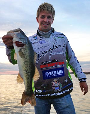 Holt Michigan Elite Series Angler Chad Pipkens hopes more bass like this Falcon Lake giant and finishing the 2013 season on home water will qualify him for his first Bassmaster Classic in 2014