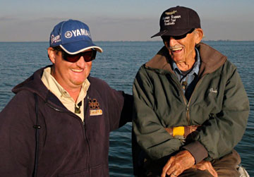 Dan Kimmel and Fresh Water Hall of Fame Legendary Guide Bob Brunner share a moment while musky fishing Lake St Clair October 2010