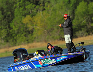 Dean Rojas leads the Bassmaster Elite TroKar Battle on the Bayou fishing on Toledo Bend for the third consecutive day