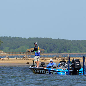 Ott DeFoe of Knoxville Tennessee still leads the Bassmaster Rookie of the Year race
