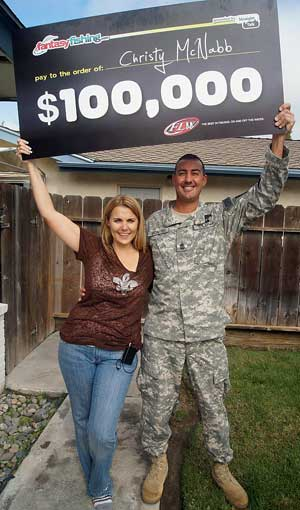2011 Fantasy Fishing point champion Christy McNabb of Kerman California wns $100,000 with her 20-year serviceman husband