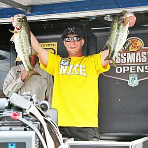Fletcher Shryock with two big day two largemouth bass he landed to lead the B.A.S.S. Southern Open on Lake Norman