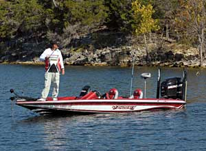 Phoenix Boats founder Gary Clouse is checking deep and shallow water this week on Table Rock Lake to see what he can find