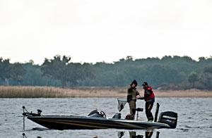 Elite Series pro Gerald Swindle and co-angler champion Marlon Crowder land a Lake Toho bass