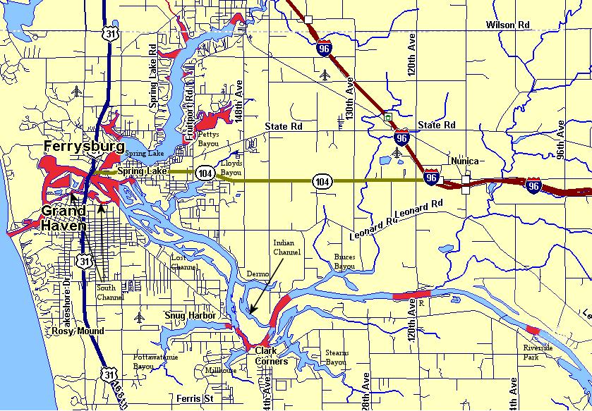 Grand River/Spring Lake No Wake Areas