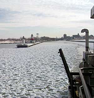 Ice formation in the St. Joseph channel, Lake Michigan