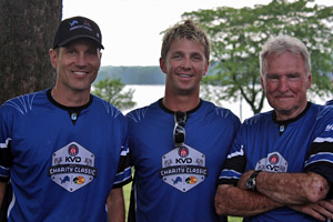 Detroit Lions football players, Bassmaster Elite Anglers and celebrities abound during the June 10th 2013 KVD Charity Classic tournament at Kensington Metropark such as retired punter Jason Hanson, Elite Angler Chad Pipkens and one of the three owners of B.A.S.S. Jerry McKinnis all pictured here