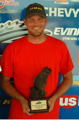 Boater Jeff Benson of Holmen Wisconsin won the August 28-29 BFL Great Lakes super tournament on the Mississippi River