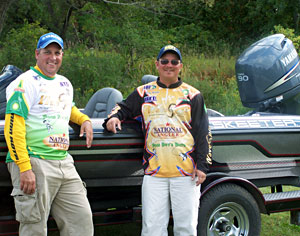 Jeff Denny and Don Watts with their Skeeter bass boat first prize for winning the 2011 Lake Drive Marine championship on Burt and Mullett Lakes