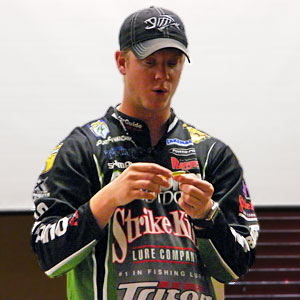 Kalamazoo Elite Angler Jonathon VanDam joined Uncle Kevin at the 2013 Oklahoma Bassmaster Classic, Jonathon's first Classic appearance, shown here demonstrating dropshotting the Strike King Dream Shot at the 2013 Ultimate Fishing Show Detroit