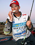 Texan Keith Combs wins the Toyota Texas Bass Classic on Lake Conroe in a sudden death fish off against Michael Iaconelli by catching a 15 inch largemouth bass