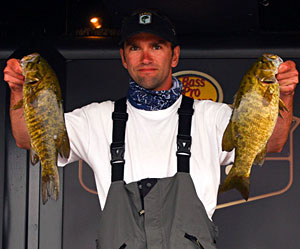 Co-angler Kevin Haley leads the non-boater pack in a tight race on Oneida Lake with a two-day total of 17-6