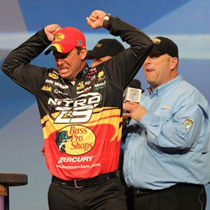 Michigan professional bass angler Kevin VanDam is no stranger to the Bassmaster Classic, here celebrating his triumph 2011 in Louisiana, Classic win number 4