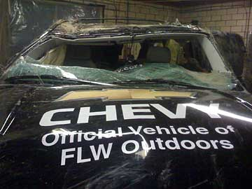 Head on view of Stricker's Team Chevy Suburban tournament rig after the unfortunate incident