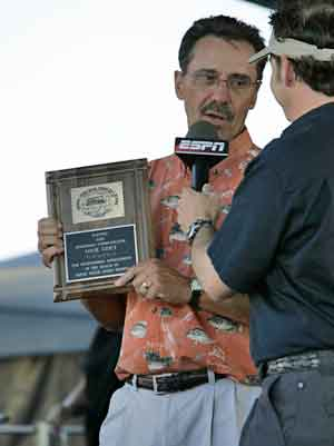 Louie is interviewed by Keith Allan, emcee at BASS tournaments, after being inducted into the National Freshwater Fishing Hall of Fame as a Legendary Communicator in 2005. He was presented the award prior to the weigh-in at the BASS Elite Series Major on Lake Wissota, Wisconsin in 2005.