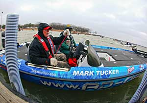 Mark Tucker in his wrapped bass boat at Lewisville Lake for the 2011 Bassmaster Central Open