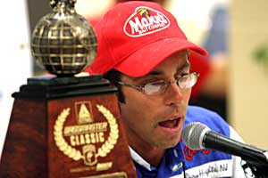 Michael Iaconelli meets with the press after his 2003 Bassmaster Classic victory at the Louisiana Delta