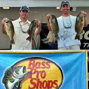 The team of Rob Ross and Adam Hilldore won the 2012 NBAA Lake St Clair Open bass tournament June 16 with 5 smallmouth bass weighin 21.47 pounds