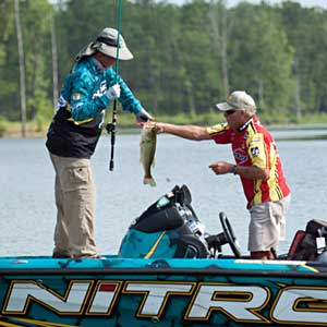 Bassmaster Rick Clunn fished with Tommy Martin during the All-Star Week Legends tournament