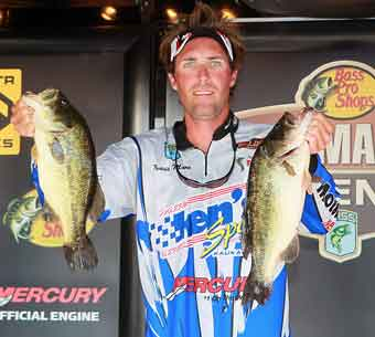 Bassmaster Northern Open rookie Travis Manson of Green Bay Wisconsin has worked his way into the number two spot in the points ranking