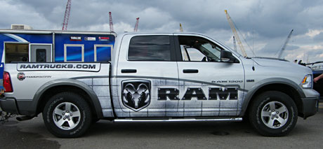Ryan Said travels to the Bassmaster Classic in style with his new Dodge Ram Outdoorsmen pickup truck with a cool Ram Trucks wrap