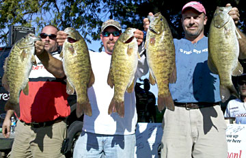 Kyle Green and Scott Dobson set an unofficial Lake St Clair five bass tournament record of 29.68 pounds with their giant smallmouth bass caught during the October 9, 2010 Monsterquest event