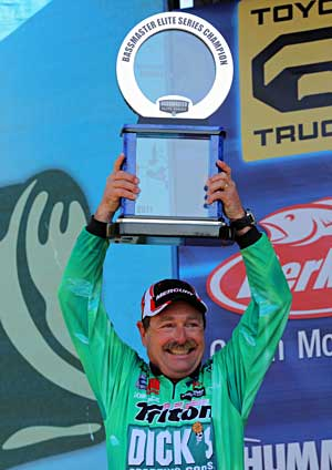 Gainesville Florida bass pro Shaw Grigsby holds on the final 3 days to win the Sunshine Showdown B.A.S.S. Elite Series event on Harris Chain with 75-4