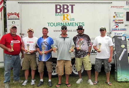 Top three teams from the 2012 Muskegon Lake Power-Pole Tour bass tournament Jesse Wenner, Curt Stickney, Ken Plencner, Neil Vandebiezen, Robert Richardson and Chad Hamlin