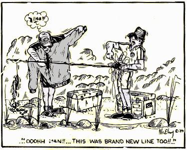 Dan Kimmel's GreatLakesBass.com Bass Fishing Humor - original art cartoon by Scales and Tales creator Bill McElroy.
