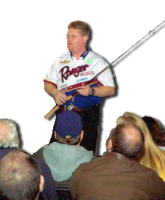 Dan Kimmel performing seminar at the 2004 Novi Ultimate Fishing Show