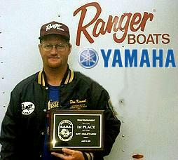 Dan Kimmel with 1st place plaque from 2000 Mullett Lake federation tournament