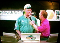 Dan Kimmel on stage with Charlie Evans at the 2001 BFL All-American