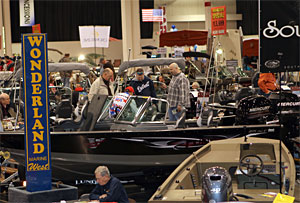 Acres of fishing boats are also on display at show prices during the 2017 Outdoorama.