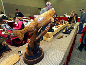 The Woodland Woodcarvers bring their outstanding handcrafted carvings done by local artists